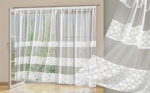 Alktex-Fako Tenda pronta all'Uso, Tessuto, Weiß-Transparent, 245 x 450 x 0,3 cm