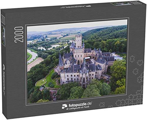 fotopuzzle.de Puzzle 2000 Teile Blick auf die Marienburg, eine gotische Wiedergeburtsburg in Niedersachsen, Deutschland, bei Hannover, Drohnen-Luftaufnahme