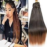 Pre Stretched Braiding Hair 30 Inch 8 Packs Prestretched Braiding Hair Long Mixed Colored Two Tone Black/Brown Synthetic Crochet Hair For Human Box Braids Crochet Hair, Yaki Straight,Itch Free(30',T1B/30#)