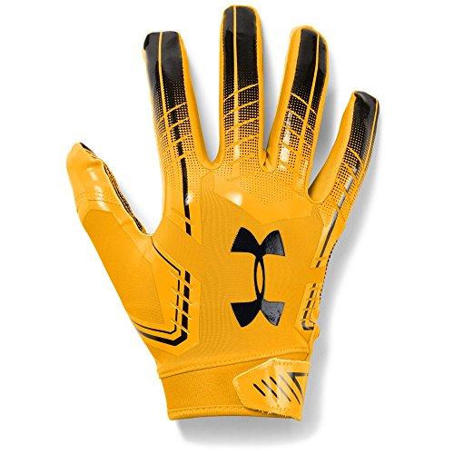 Under Armour Men's F6 Football Gloves, Steeltown Gold (750)/Black, Small/Medium