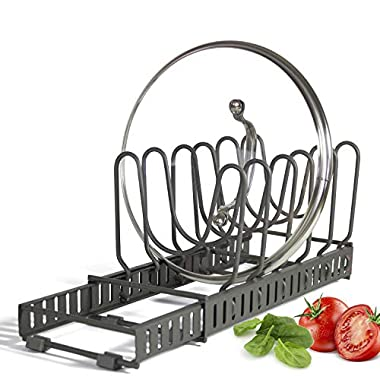 9+ Lids - BetterThingsHome Expandable Lid Holder: Total 10 Adjustable Compartments, Stores 9+ Lids, Can Be Extended to 22.25 , Kitchen Cookware Pan Pot Lid Organizer Rack - Brand New Updated