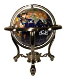 Unique Art 13-Inch Tall Table Top Blue Lapis Ocean Gemstone World Globe with Silver Tripod Stand