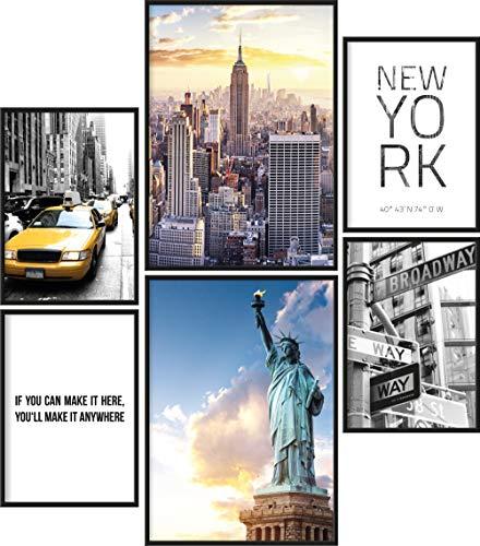 Papierschmiede® Mood-Poster Set New York | 6 Bilder als stilvolle Wanddeko | 2X DIN A4 und 4X DIN A5 | Freiheitsstatue USA America - ohne Rahmen