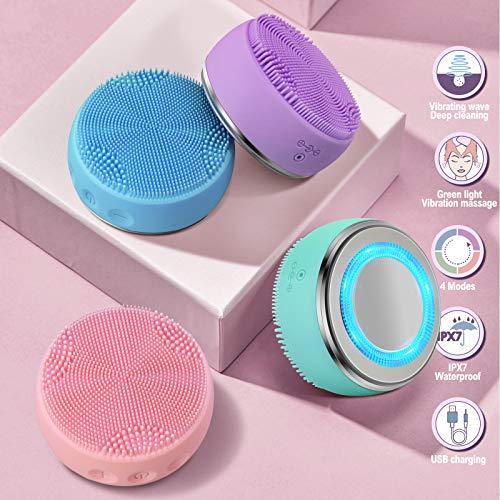 electrico recargable Cepillo limpiador facial IPx7 impermeable 4 modo de trabajo calefacción importación y exportación Removedor de maquillaje skin care masajeador facial cepillo de limpieza (verde)