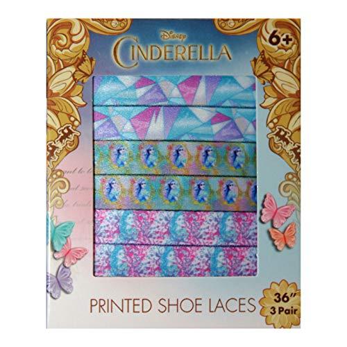 Esquire Footwear (1) Box Set Disney Cinderella Printed Shoe Laces - 3 Pairs with Cinderella Designs - 36 Inches Long Each