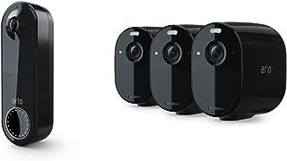 Arlo Essential kabellose Video Doorbell Überwachungskamera und Essential Überwachungskamera 3er Set Bundle   schwarz