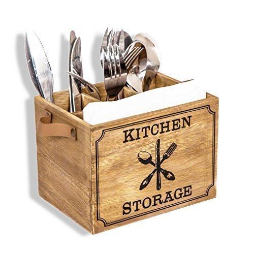HausderHerzen Besteckbox Holz Besteckkorb, Besteckkasten für Besteck Löffel Gabel Messer Shabby-antik