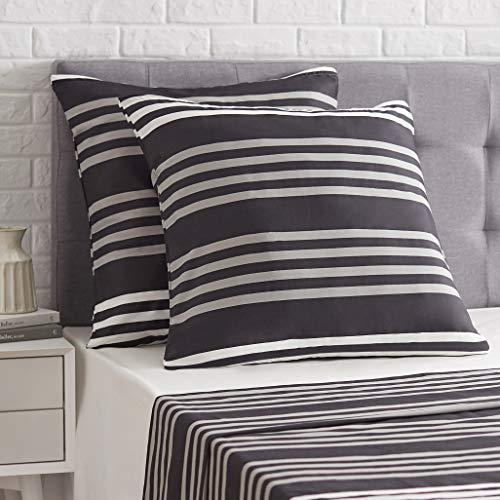Amazon Basics - Funda de almohada de satén - 80 x 80 cm x 2, A rayas