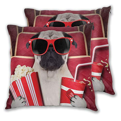 MOBEITI Square Cushion Cover 45x45cm 2 pieces Set,Funny Dog Watching Movie Popcorn Soft Drink And Glasses Animal Photograph decorative Throw Pillow Case for Couch Sofa Chair Bed Home office Decor