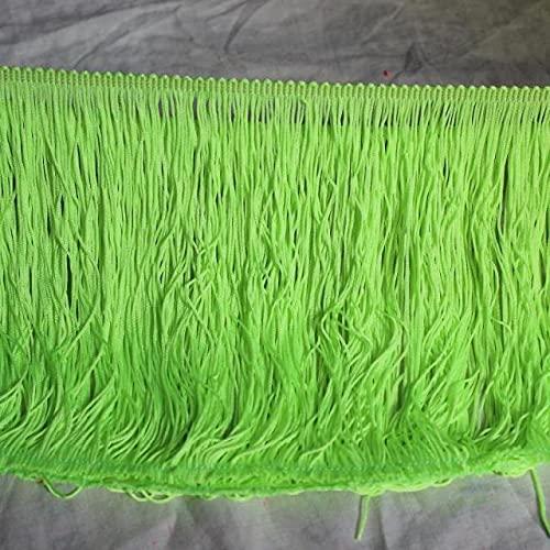 LeoCraft 1 Yds Latin Fringe Tassel Shiny Tutu Dance Trimming Bright Fringe Lace Nylon Thick Heavy 18-20CM Long - Sewing Fringe Trim