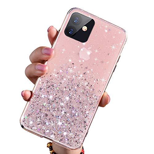 VUTR Funda de Purpurina Transparente para iPhone 11 Carcasa de Color Resistente antigolpes Brillante y ostentosa con Parte Trasera Transparente con Brillantina y Estrellas para iPhone 11 - Rosa