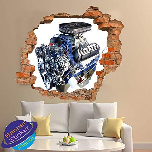 Pegatinas de pared Auto partes del motor pegatinas de pared mecánicas póster de arte 3D pegatinas de pared decoración de la pared