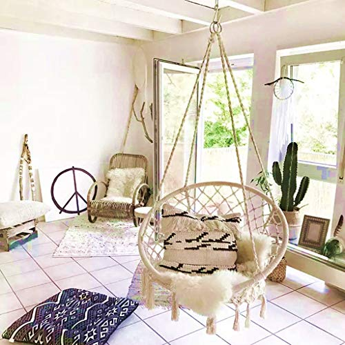 Hammock Swing Chair,Hammock Chair Large Hanging Rope Chair ,Wide Seat Swing Chair Indoor Outdoor Garden Yard Rope Swing Chair,330Ibs Capacity