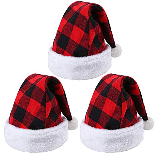 URATOT 3 Pack Christmas Santa Hat Plaid Santa Hat Luxury Plush Hat for Christmas Costume Party and Holiday Event