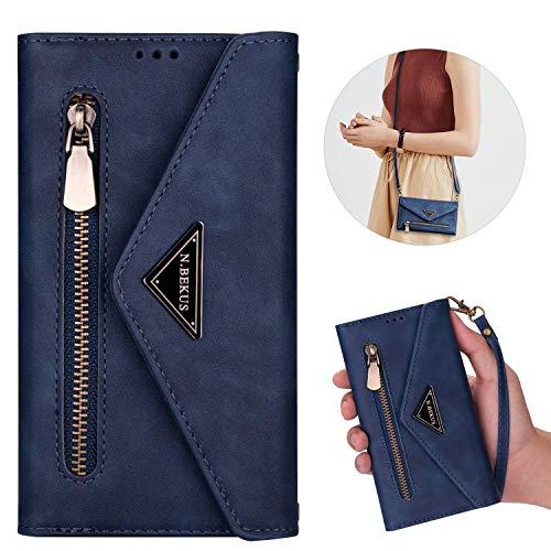 Kompatibel mit Huawei P30 Hülle Leder Tasche Brieftasche Flip Wallet Case Schutzhülle Handyhülle Reißverschluss Geldbörse Klapphülle Handytasche mit 5 Kartenfächer,Blau