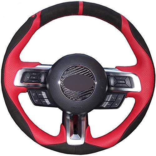 ZYTB Für schwarz rot handgenäht Auto lenkradbezug für Ford Mustang 2015-2020 Mustang gt gt350r 2015-2020,Red Thread