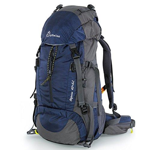 Syming Mochila Senderismo con Cubierta De Lluvia,para Aventura,Al Aire Libre,Viaje,Camping,Impermeable (50L Azul Oscuro)