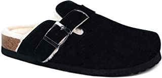 Cow Suede Leather Clogs,Boston Soft Footbed Clog,Cork Clogs Shoes for Women,Plush Lined,Antislip Sole Slippers Mules