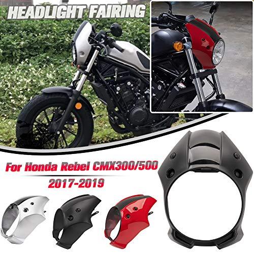 AHOLAAMotorrad-Scheinwerfer-Verkleidungs-Schirm Windschutzscheibe für Honda Rebel CMX 300 CMX 500 2017 2018 2019,CMX 500 Rebel 300 Motorrad-Scheinwerferverkleidung (Schwarz)