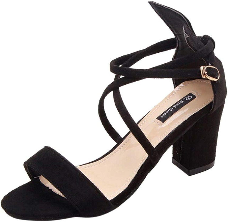 kvinnor Block hög klack Sandals mocka mocka mocka Comfortable Peep Toe Cross Strap Ladies Ankle Casual skor  presentera alla senaste high street mode