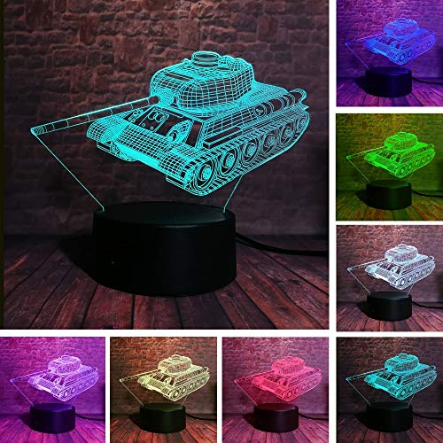 Creative Cool Military Machine Tanks Xmas Toy 3D LED Night Light USB Table Lamp Kids Birthday Gift Bedside Home Decoration