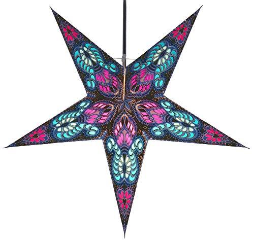 Guru-Shop Faltbarer Advents Leucht Papierstern, Weihnachtsstern Menor - Blau/lila, 60x60x20 cm, Star Fensterdeko, 5 Spitzen