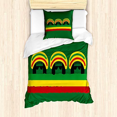 ABAKUHAUS jamaicano Funda Nórdica, Reggae temáticas Sombrero, Decorativo 2 Piezas con 1 Funda de...