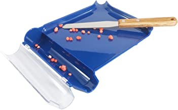 Right Hand Pill Counting Tray with Spatula (Blue, Stainless Steel Blade + Wood Handle)