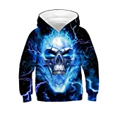LANYU Children Fashion Gothic Lightning Skull Hoodies Boys Girls Funny Sweatshirts Kids Pullovers Tops (blue-white, 8-11Y)