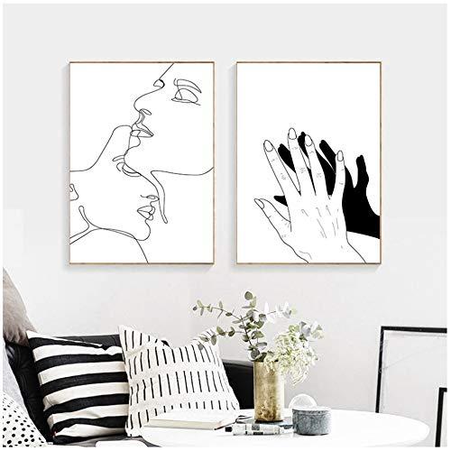 """Cuadro en lienzo Dibujo lineal Pareja Beso Cartel abstracto Negro Blanco Imagen nórdica Decoración moderna para el hogar Arte de la pared Pintura 40x60cm (15.7""""x23.6"""") x2 Sin marco"""