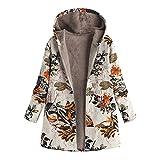 Abrigos para Mujer Invierno Chaqueta Suéter Floral Bolsillos con Capucha Jersey Tallas Grandes Sudadera con...