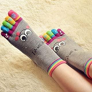 Junong Cartoon Smile Face Five Fingers Socks Toe Socks for Women Girls(Grey)