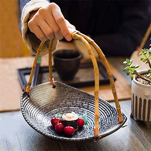 ZHA JIAN Personnalité créative de style japonais plaque en céramique Sushi Snack Plateau Restaurant & Hôtel & Home Bamboo poignée Plate Hanging Fruit Basket