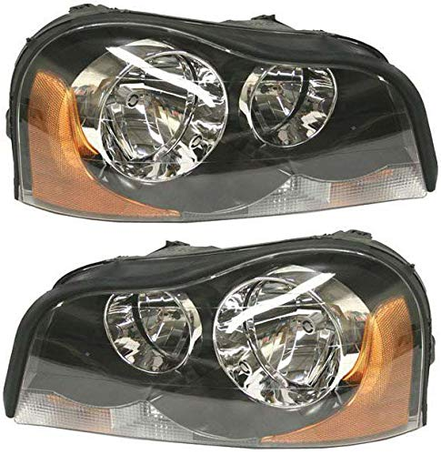 Headlight Set Compatible with 2003-2014 Volvo XC90 Left Driver and Right Passenger Side Halogen With bulb(s)