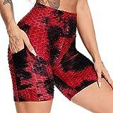 FITTOO Pantalones Cortos Deportivo Mallas Leggings Mujers Yoga Alta Cintura Elásticos Negro & Rojo XL