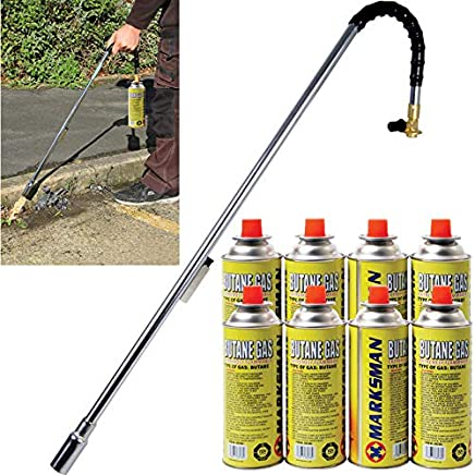 BARGAINS-GALORE Burner Killer Butane Gas BLOWTORCH Garden Outdoor Moss Fungus (Weed Wand + 8 CANISTERS)