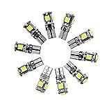 Neuftech® 10PCS Lampes Ampoule Phare LED Veilleuse Canbus sans Erreur W5W T10 5050 5-SMD LED Blanc