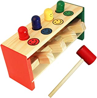 HHSDJ Baby wooden hammer toy box children's educational toys game colorful wooden toys children's educational toys (Color ...