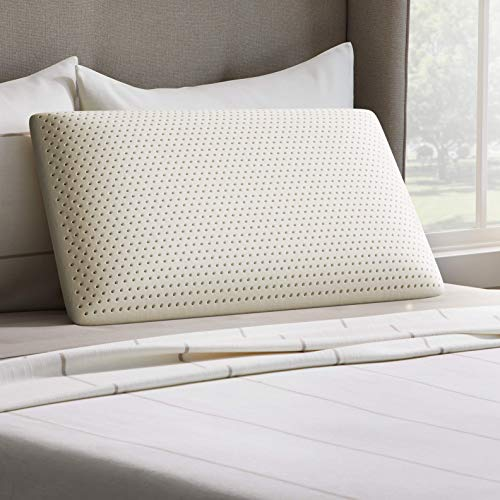 LUCID Talalay Latex Foam Pillow - Mid-Loft - Responsive Memory Foam Alternative - Medium Plush Feel- Removable Cotton Cover, Queen, White, Model:LUQQHFLX