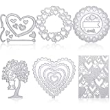 6 Pieces Heart Shape Metal Cutting Dies Heart Flower Embossing Stencils Heart Rectangle Frame Cutting Dies Stencils Template for Christmas Valentine's Day Birthday Wedding Scrapbooking Card Making