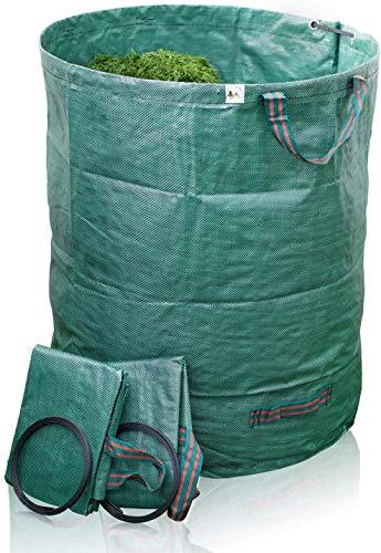 TTL Garden Gartensäcke 2er Set 500l - Gartensack 4 Griffe extra robust + faltbar, selbststehender Sack Behälter für Gras Laub Gartenabfall Grünschnitt