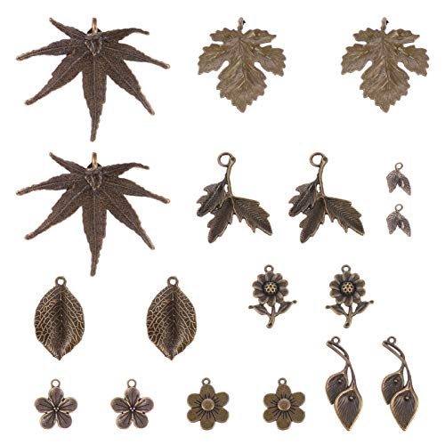 VORCOOL 18 Piezas Vintage Pluma Encanto Hoja Tibetana Flor Decorativa Artesana Retro Colgante Antiguo DIY Metal Encantos para Suter Cadena Collar Pulsera