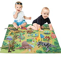 ★★★Do you want to realize your child's dinosaur dream? Come to the dinosaur world toy of the Jurassic Park scene carpet and realize the dinosaur dream. 1.Ultimate realistic dinosaurs by 9 Piece Jurassic adventure world dinosaur set,kids can build a m...