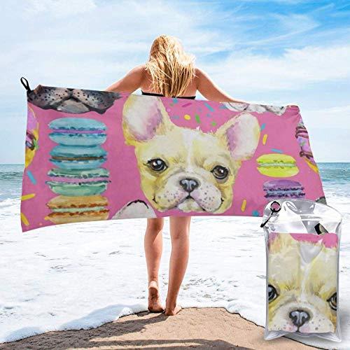 CHUNXU Schnell trocknendes Strandtuch, Tierhund, französische Bulldogge, bedruckte...