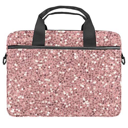 Rose gold sequins 13.4-14 Inch Laptop Bag,Multifunctional Laptop Case,Portable Sleeve Briefcase,Adjustable Shoulder Strap