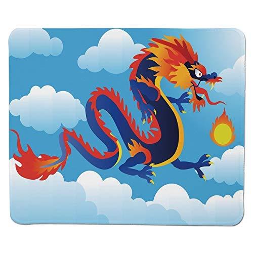 Yanteng Gaming Mouse Pad Dragon, Surreal Cuento Popular Criatura Escupiendo Fuego en Las Nubes Arte de Dibujos Animados Chino Decorativo, Índigo Azul Cielo Naranja Cosido Borde