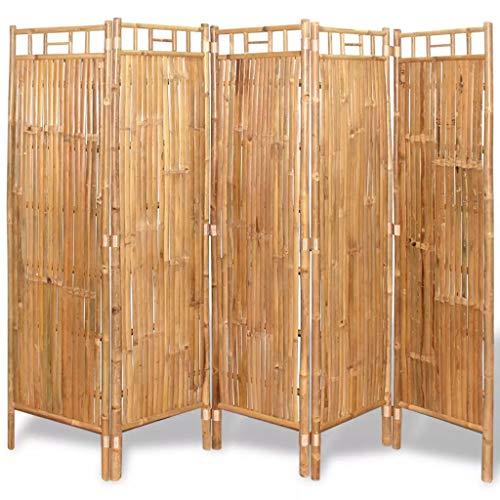 vidaXL 5 Pannelli Divisori da Recinzione in Bambù 200x160 cm