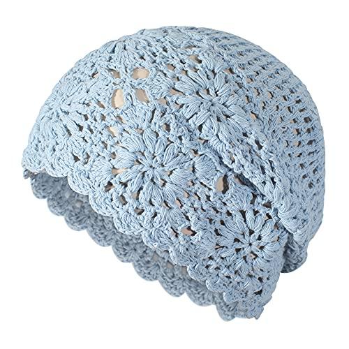 ZLYC Gorro de ganchillo de algodón para mujer, hecho a mano, con diseño de calavera, diseño floral, Azul sólido, Talla única