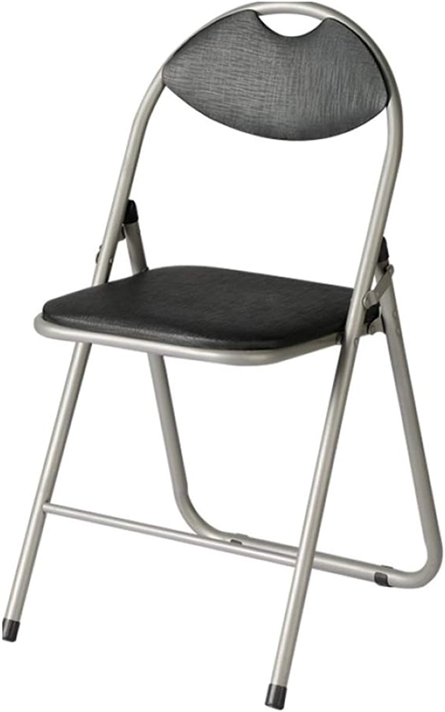 ZENGAI Chaise De Bureau Pliante En Similicuir black (color   Black, Size   44x47x79cm)
