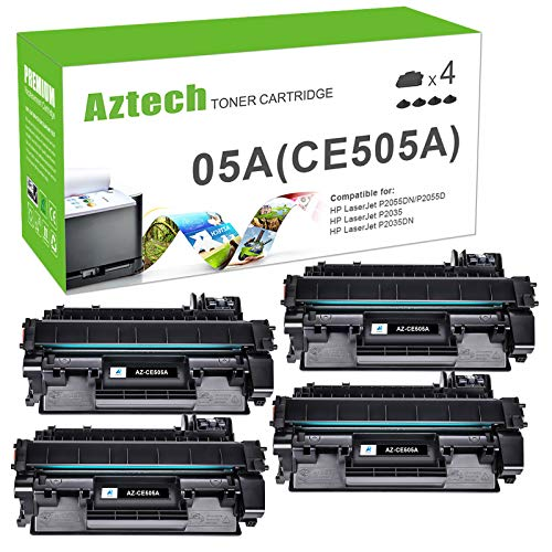 AZTECH Compatible Toner Cartridge Replacement for HP 05A CE505A Laserjet P2035 P2035N P2055DN (Black, 4-Pack)